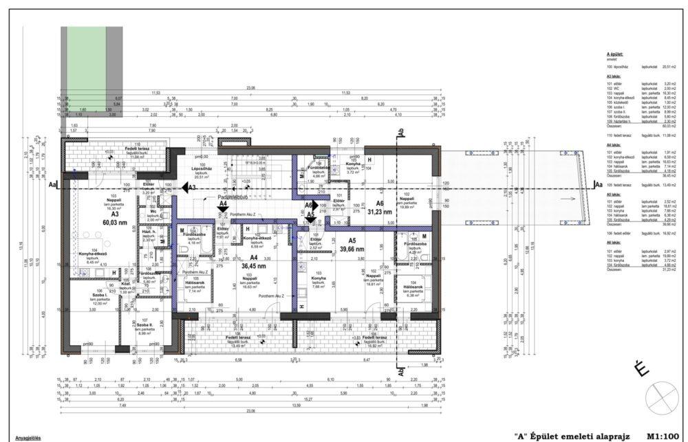 E-2 _A_ Épület emeleti alaprajz-1