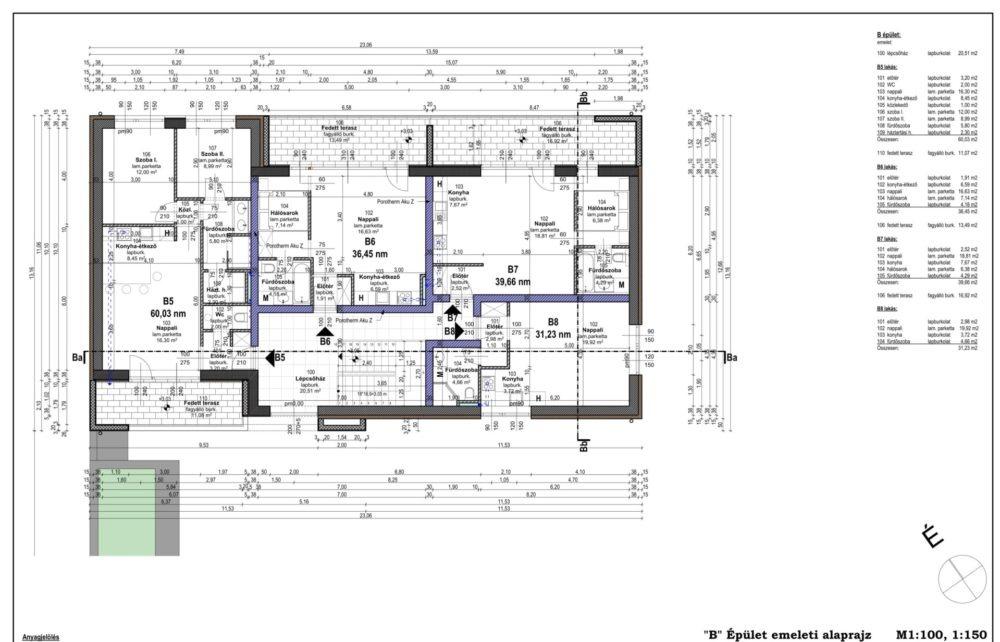 E-4 _B_ Épület emeleti alaprajz-1